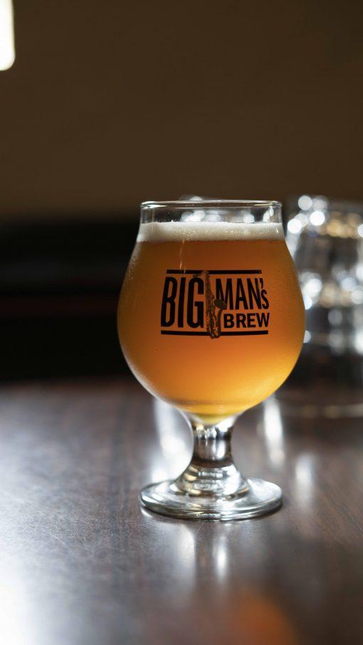 Big Man's Brew Beer Glass Front